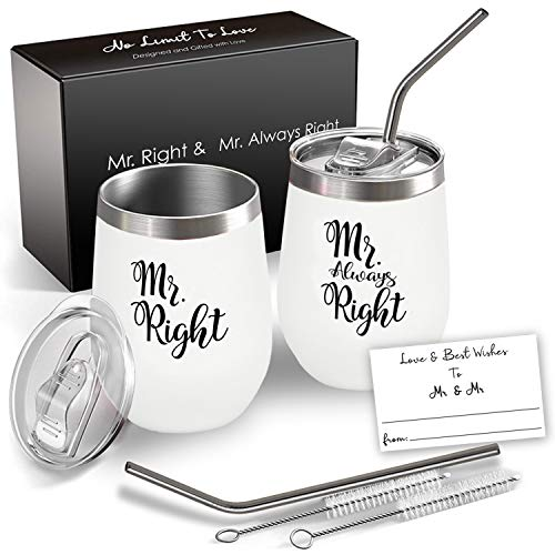 Mr and Mr Wine Tumbler Set, 12 Oz Insulated Stainless Steel, Set of 2, Gay Gift, Gay Anniversary Gift, Gay Wedding, Gay Engagement, Pride Couple