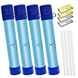Survival Water Filter + Emergency Blankets, Personal Water Filter Straw, Portable Survival Gear Accessories for Camping Hiking Traveling Family Life Backpacking