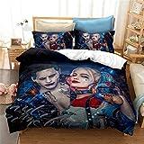 Nat999Lily Horror Movie Suicide Squad Set Biancheria da Letto 3D The Joker Girls Set Copripiumino...