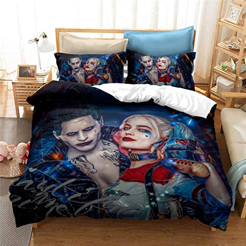 Nat999Lily Horror Movie Suicide Squad 3D Bedding Set The Joker Girls Harley Quinn Printed Duvet Cover Set Twin Full Queen King Size 140X200Cm