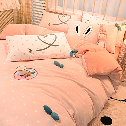 Shinon teddy bear duvet set double,Winter padded flannel princess style sheet duvet cover bedding set-C_1.2m bed (3 pieces)