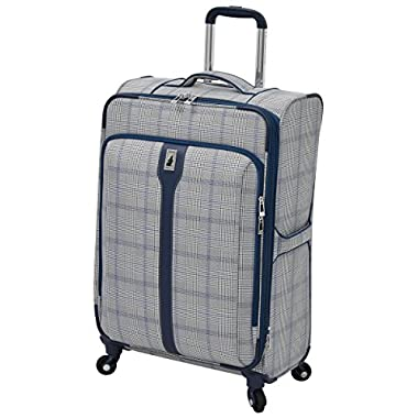 London Fog Knightsbridge Hl 25  Expandable Spinner, Grey/Navy Plaid