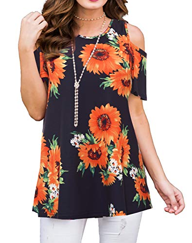 PrinStory Women's Short Sleeve Casual Cold Shoulder Tunic Tops Loose Blouse Shirts Floral Print Sunflower Black M