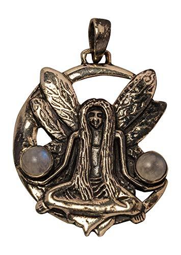 Avalon Schmuck Amulett Sitzende Elfe mit Zwei Mondsteinen
