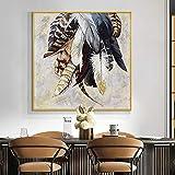 KYQ varios s pintura al óleo abstracta moderna sobre lienzo impresión cartel nórdico cuadro de arte de pared para la decoración del hogar de la sala de estar 40x40 CM (sin marco)