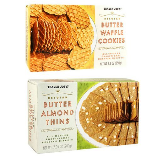 Trader Joe's Belgian Butter Waffle Cookies 8.8 ounce, Belgian Butter Almond Thins 7.05 ounce (2 Box Set)