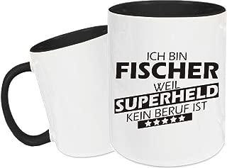 Shirtstown Taza de Cerámica, Taza, Super Héroe para Besten Profesión del Mundo, Colega, Job - Fischer Superheld, 330 ml