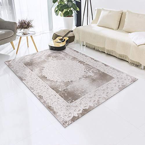 Impression Tappeto decorativo per il soggiorno, a pelo corto, in stile vintage, certificato Öko-Tex – beige-tradizionale – dimensioni 80 x 150 cm