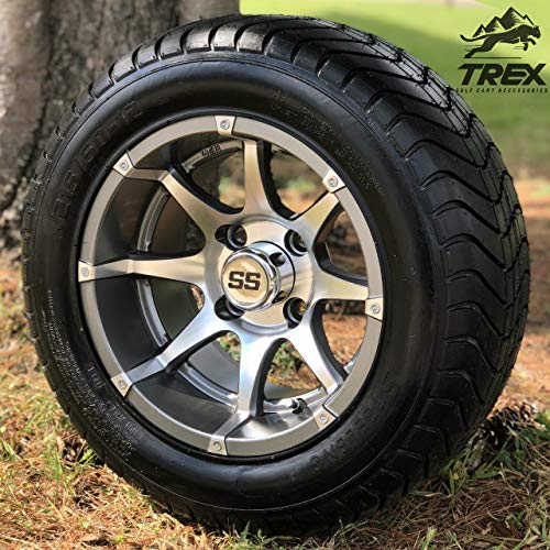 12' Banshee Gunmetal Aluminum Golf Cart Wheels and 215/50-12' DOT ComfortRide Golf Cart Tires - Set of 4