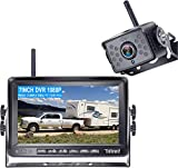 DoHonest FHD 1080P Digital Wireless Backup Camera Kit Built in DVR 7'' Monitor Support Split Screen Highway Observation System for Trucks,Trailers,5th Wheels,Campers,RVs Stable Signal - S19