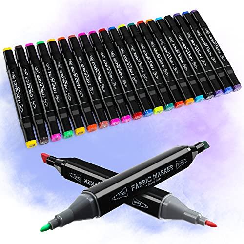 RATEL Pennarelli per Tessuti, 24 Set con 20 Doppia Testa pennarelli per Pittura in Tessuto, 4 Stencil da Disegno, Pennarello indelebile e Pennarelli da Tessuto, Decora per Tessuto