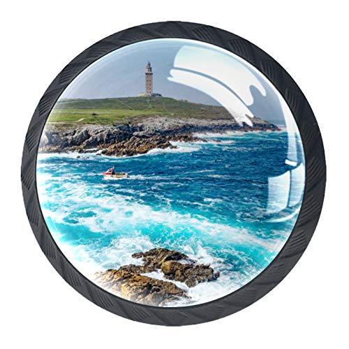 Tiradores de cajón con tirador de cristal redondo para el hogar, cocina, tocador, armario, torre de Hércules en A Coruña