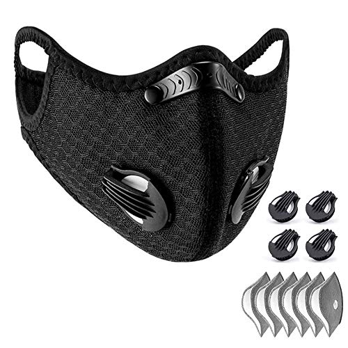 WISREMT Cycling Face Mask, Nylon Spandex Activated Carbon Windproof Dust-Proof Lightweight Breathable Quick Dry Outdoor Sportswear Mask (#1 (1 Black Mask+6 Filters))