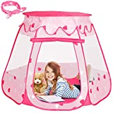 Pop Up Princess Tent for Kids,Pink Princess Castle for Girls,Foldable Play Tents for Toddlers Toys with a Carrying Bag & Bow Headband, As Playhouse & Ball Pit for Indoor Outdoor