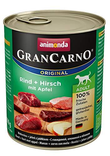 animonda Gran Carno adult Hundefutter, Nassfutter für erwachsene Hunde, Rind + Hirsch mit Apfel, 6 x 800 g