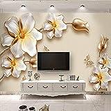 Tapeten Wandbilder,Tiefen Textur Relief Goldene Blumen