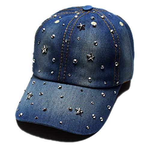 Cheerlife Damen Jeans Baseball Cap Mütze Kappe mit Strass Schriftzug und Glitzer Hip Hop Hut 11