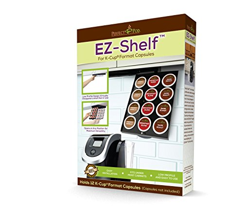 EZ-Shelf K-Cup Pod Holder Under Cabinet Drawer Storage Organizer | Compatible with Keurig Single K Cup Coffee Pod Capsules