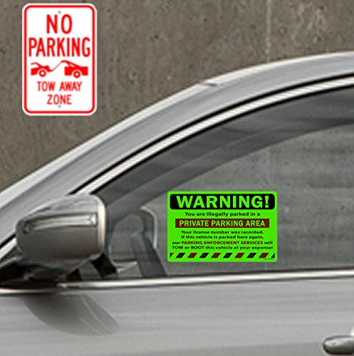 """50 Green Fluorescent Warning Private Parking Area! Violation No Parking Towing Car Auto Sign Stickers 8"""" X 5"""" Photo #3"""