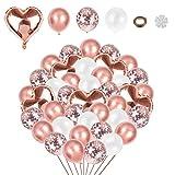 Xinmeng Rose Gold Herz Folienballons Rose Gold Luftballons Konfetti Rose Gold Weiß Luftballon 54pcs Rose Gold Helium Luftballons Set für Valentinstag Hochzeit Brautdusche (Rose Gold)