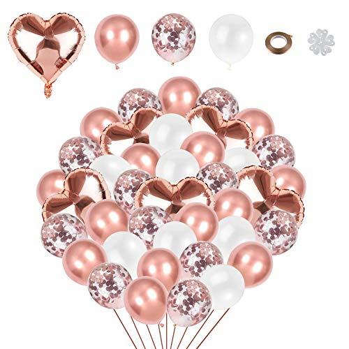 Xinmeng Globo de amor de papel de aluminio Globo de Confeti de oro rosa Globos Rosa Oro 54 piezas Globos Rosa Oro Blanco, Para Decoraciones de Bodas, Fiestas.( Rosa Oro)