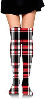 Uridy, Calcetines hasta la rodilla a cuadros negros y rojos para niñas Calcetines deportivos clásicos para correr Medias hasta el muslo Calcetines locos