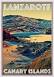 StickIt2Me Lanzarote Spanien Art Deco Retro Reise Poster A4