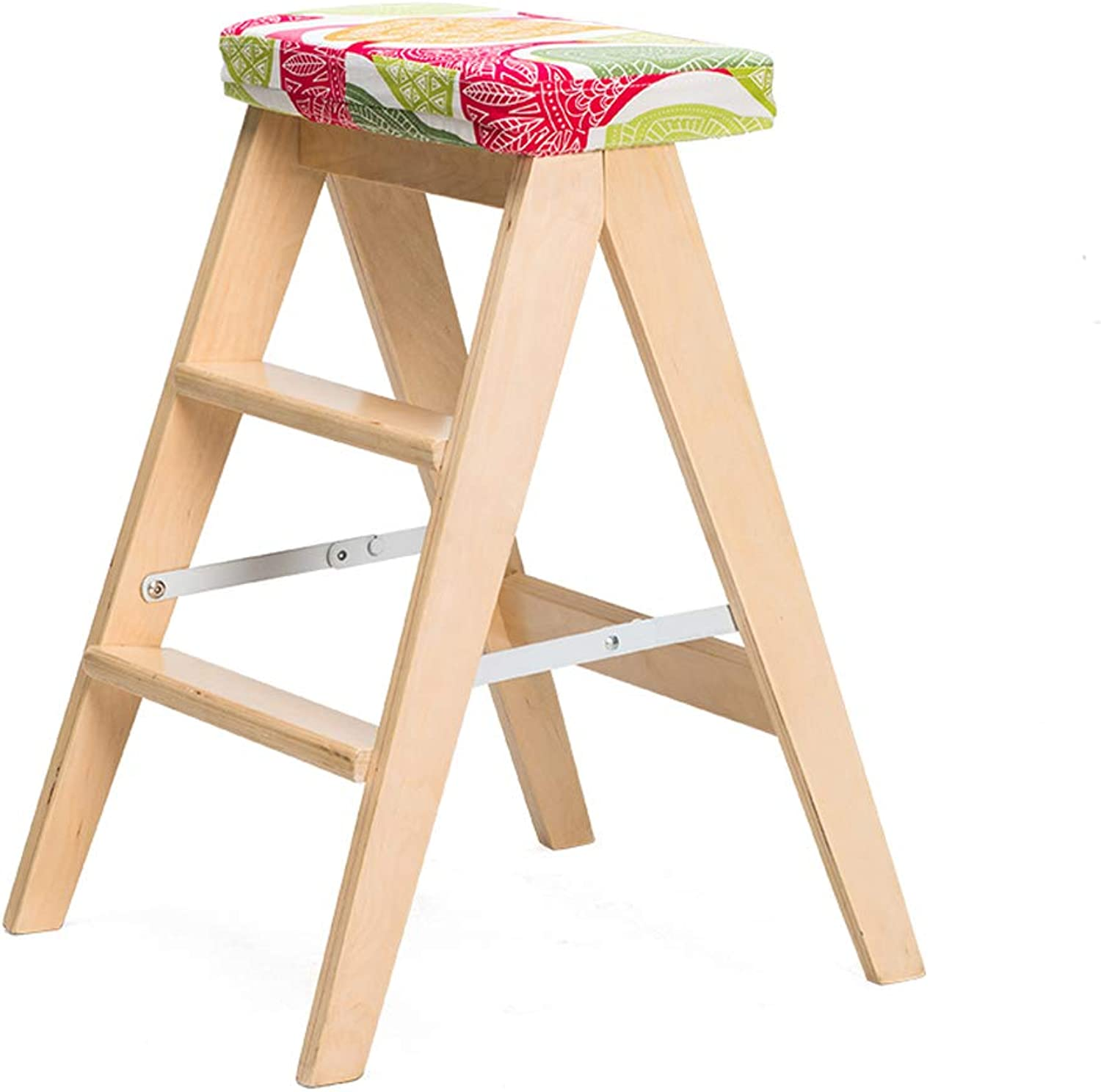 Ladder 3 Step Portable Household Stool,with Platform Folding Multifunction Solid Wood Cotton and Linen Cushion,for Home Garden Office Kitchen,4 colors