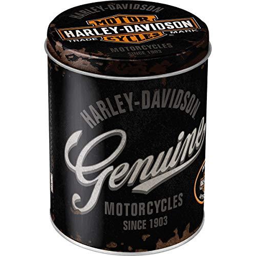 Nostalgic-Art Barattolo di Metallo per Alimenti Rotondo – Harley-Davidson Genuine Logo