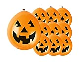 Unique Party - Globos de Halloween de Calabaza de Látex - 23 cm - Color Naranja - Paquete de 10 (80351)