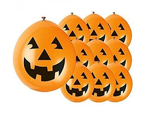 Unique Party - Globos de Halloween de Calabaza de Látex - 23 cm - Color Naranja - Paquete de 10 (80351)