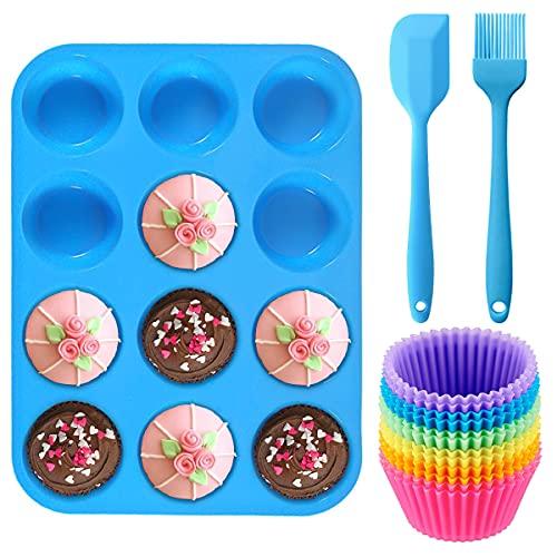 Geeke Set di 12 teglie riutilizzabili in Silicone per Muffin e Cupcake, con 12 Muffin, 1 spatola in Silicone e 1 Pennello per Olio, Padella Antiaderente,Adatto per lavastoviglie, Forno e microonde.