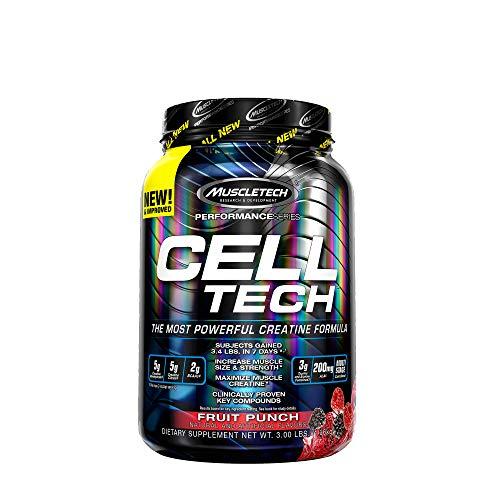Creatin Monohydrat und BCAA, MuscleTech Cell-Tech Creatine Monohydrate Powder, Aminosäuren und Kreatin für den Muskelaufbau und Kraftraining, Fruchtpunsch, 1.4 kg (28 Portionen)