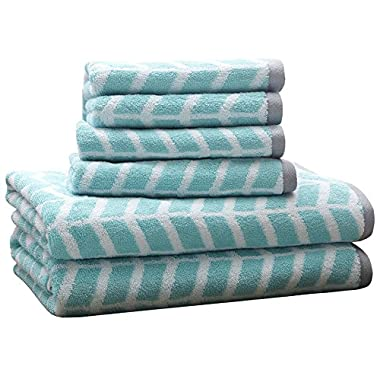 Intelligent Design ID91-524 Nadia 6 Piece Cotton Jacquard Towel Set, 28 x 54 (2)/16 x 26 (4), Teal