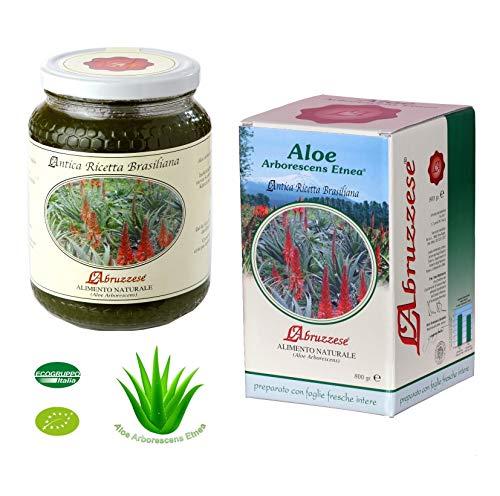 Succo di Aloe Arborescens Etnea PURO Biologico Bio 800 gr Ricetta Originale Padre Romano Zago Integratore Frullato Made in Italy da Nostre Piantagioni L'Abruzzese