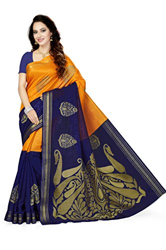 Ishin Silk Saree With Blouse Piece (_Orange & Blue_Free Size)
