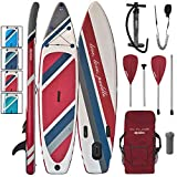 ALPIDEX Stand Up Paddle Board 320 x 76 x 15 cm Charge Max 130 kg Sup Planche Gonflable iSup Leger Robuste Ensemble Débutant, Couleur:Fire