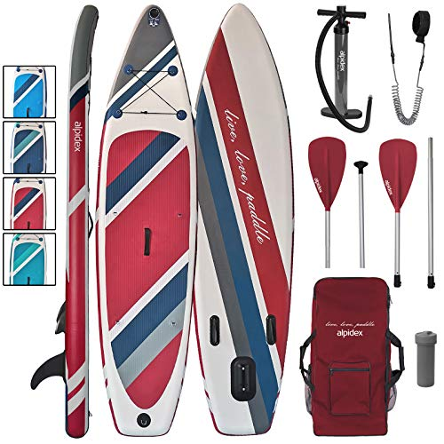 ALPIDEX Stand Up Paddle Set SUP 320 x 76 x 15 cm max.130 kg Aufblasbar Stabil Leicht Komplett Set Tragetasche Paddel Finnen Luftpumpe Leash Repair Kit, Farbe:Fire