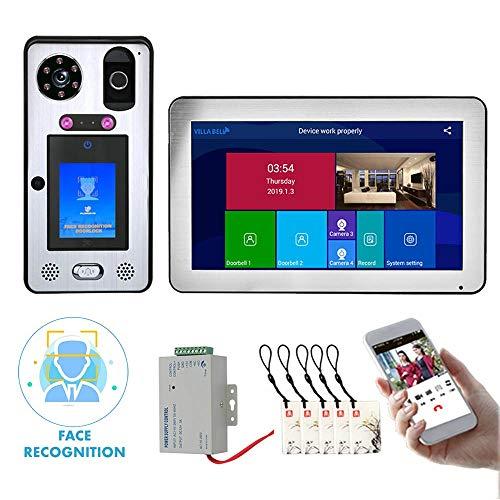 Timbre con video Wifi de 10 pulgadas, Videoportero con reconocimiento facial, Intercomunicador de seguridad, Cámara de visión nocturna, Desbloqueo de la APP IC de huellas dactilares de soporte