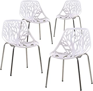 ZOYO Birds Nest Chairs Modern Dinning Chairs Birch Chairs Mid Century Office Chair Side Chairs Set of 4 (White)
