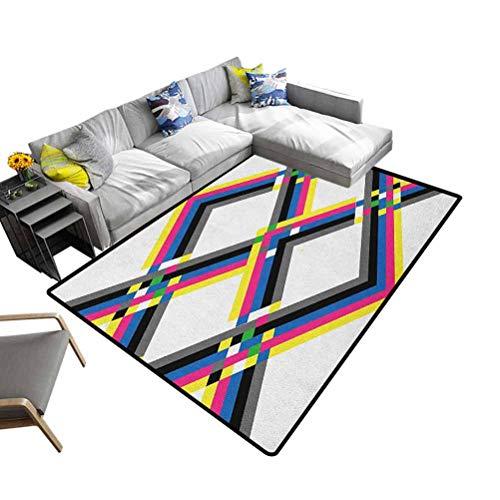 Alfombra psicodélica, tradicional, colorida, composición geométrica con coloridas líneas de zigzag Chevron cuadradas, rejilla digital para baño, cocina o lavandería, multicolor, 200 x 300 cm