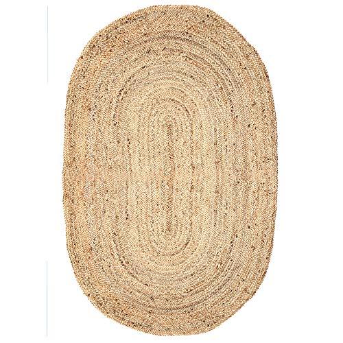 Alfombra Yute Decorative - 121 x 68 cm Fibras Naturales Bio Amigable Alfombra para Habitacion Y Pasillo Ovalada Forma Lavable Marron Rug