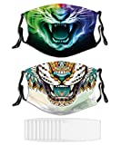 2PCS Face Mask Tiger Abstract Expression Washable Masks for Adult