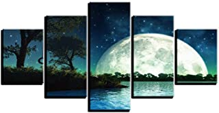 Lijome Framed Photos Hd Printed 5 Panel Modern Canvas Star Moon Seems Night View Wall Art Painting Home Decor Living Room ...