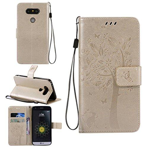 Ycloud Funda Libro para LG G5/LG G5 PU Leather Cuero con Flip Cover Cierre Magnético Función de Soporte Billetera Case con Tapa para Tarjetas Gato Árbol Mariposa Dorado