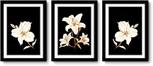 3 Panels Black Frames Giclee White Mat Artworks Black White and Gold Wall Art Canvas Prints Decor Framed Flowers Painting Poster Printed On Canvas Poppy Pictures for Home Decorations Small Multi
