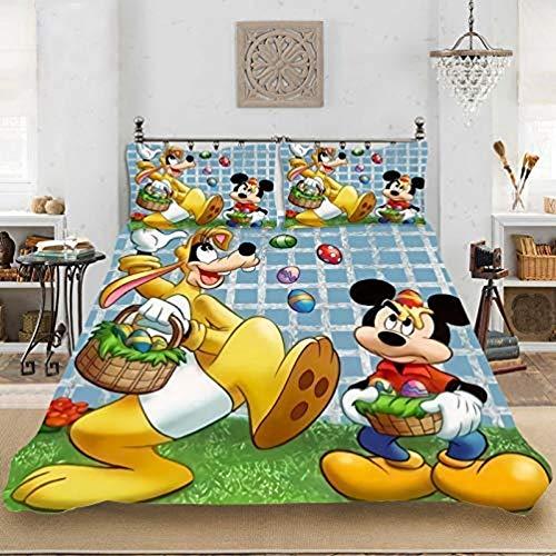 WTTING Disney Mickey & Minnie - Funda de edredón de microfibra, diseño de Disney con dibujos animados en 3D, para cama individual, doble, King (220 x 240 cm)