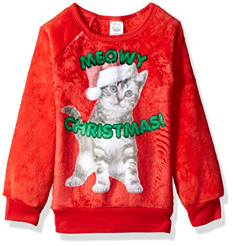 Evy Big Catmas Girls Cozy Woobie Pullover Top, red, 6/6X