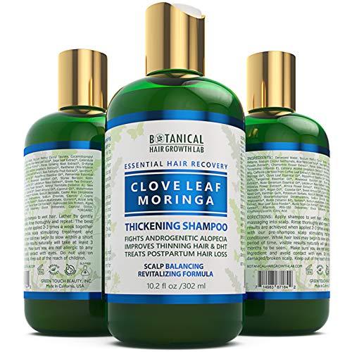 BOTANICAL HAIR GROWTH LAB - Hair Loss Shampoo - Clove Leaf Moringa - Scalp Revitalizing - Alopecia Postpartum DHT Blocker - 10.2 Ounce (Pack of 1)