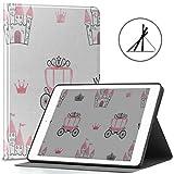 Custodia da 9.7 pollici iPad, Principessa modello Castelli Corone Carrelli Supporto sottile Custodia rigida protettiva Custodia protettiva con guscio posteriore